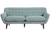 Mid-Century Modern Button-Tufted Sofa in Spearmint Green Upholstery with Tapered Wooden Legs - Front View