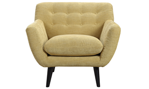 Button-Tufted Accent Chair in Banana Yellow Upholstey with Tapered Wooden Legs - Front View