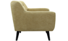 Button-Tufted Accent Chair in Banana Yellow Upholstey with Tapered Wooden Legs - Side View