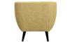 Button-Tufted Accent Chair in Banana Yellow Upholstey with Tapered Wooden Legs - Back View