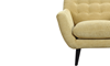 Button-Tufted Accent Chair in Banana Yellow Upholstey with Tapered Wooden Legs - Close-up View