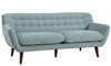 Button-Tufted Sofa in Spearmint Green Upholstery with Tapered Wooden Legs - Angled View