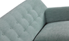 Button-Tufted Sofa in Spearmint Green Upholstery with Tapered Wooden Legs - Close-up View