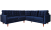 Berkeley 2-Piece Tufted Sectional Sofa in Navy Blue Velvet-like Upholstery with Wooden Tapered Legs - Front View