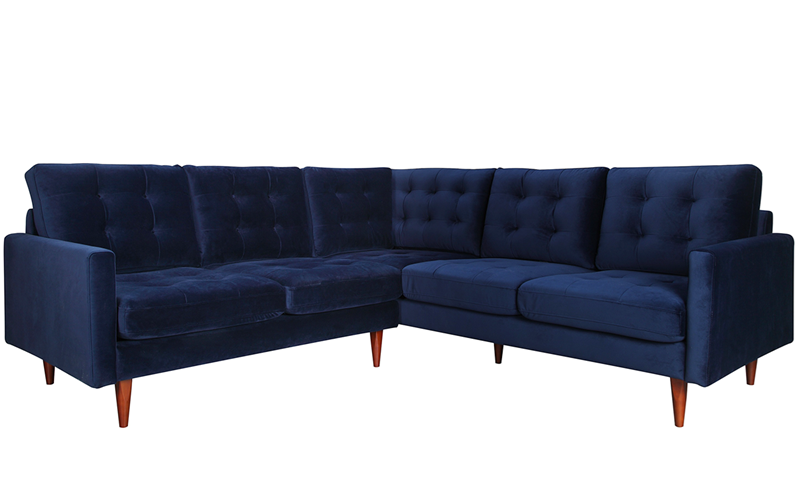 Berkeley 2 Piece Tufted Sectional Sofa In Navy Blue Velvet Like Upholstery With Wooden