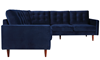 Berkeley 2-Piece Tufted Sectional Sofa in Navy Blue Velvet-like Upholstery with Wooden Tapered Legs - Side View