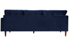 Berkeley 2-Piece Tufted Sectional Sofa in Navy Blue Velvet-like Upholstery with Wooden Tapered Legs - Back View