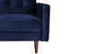 Berkeley 2-Piece Tufted Sectional Sofa in Navy Blue Velvet-like Upholstery with Wooden Tapered Legs - Close-up View