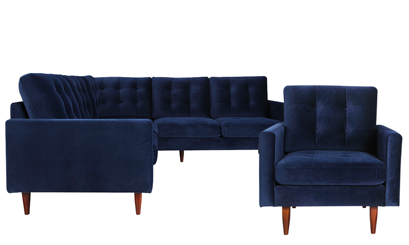 Berkeley 3 Piece Tufted Living Room Set With Accent Chair And Sectional Sofa In Navy