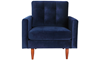 Berkeley Tufted Accent Chair in Navy Blue Velvet-Look Upholstery with Tapered Wood Legs - Front View