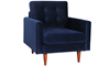 Berkeley Tufted Accent Chair in Navy Blue Velvet-Look Upholstery with Tapered Wood Legs - Angled View