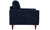Berkeley Tufted Accent Chair in Navy Blue Velvet-Look Upholstery with Tapered Wood Legs - Side View