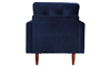 Berkeley Tufted Accent Chair in Navy Blue Velvet-Look Upholstery with Tapered Wood Legs - Back View