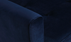 Berkeley Tufted Accent Chair in Navy Blue Velvet-Look Upholstery with Tapered Wood Legs - Close-up View