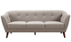 Hume Mid-Century Modern Tufted Sofa in Neutral Upholstery with Tapered Wood Legs - Front View