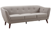 Hume Mid-Century Modern Tufted Sofa in Neutral Upholstery with Tapered Wood Legs - Angled View