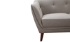 Hume Mid-Century Modern Tufted Sofa in Neutral Upholstery with Tapered Wood Legs - Close Up View