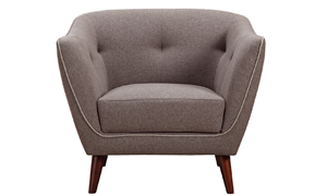 Hume Mid-Mod Tufted Accent Chair in Neutral Toned Upholstery - Front View