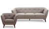 Hume Mid-Mod Tufted 2-Piece Living Room Set with Sofa and Accent Chair in Neutral Upholstery