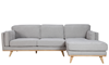 Marx Mid-Mod Chaise Sectional Sofa in Gray Upholstery with Track Arms and Wooden Tapered Legs - Front View