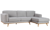 Marx Mid-Mod Chaise Sectional Sofa in Gray Upholstery with Track Arms and Wooden Tapered Legs - Angled View