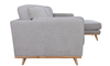 Marx Mid-Mod Chaise Sectional Sofa in Gray Upholstery with Track Arms and Wooden Tapered Legs - Side View