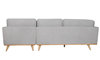 Marx Mid-Mod Chaise Sectional Sofa in Gray Upholstery with Track Arms and Wooden Tapered Legs - Back View