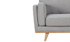 Marx Mid-Mod Chaise Sectional Sofa in Gray Upholstery with Track Arms and Wooden Tapered Legs - Close Up View