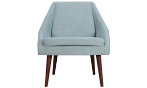 Beauvoir Accent Chair with Eggshell Blue Upholstery and Walnut Wood Legs - Front View