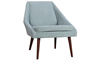 Beauvoir Accent Chair with Eggshell Blue Upholstery and Walnut Wood Legs - Angled View