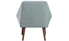 Beauvoir Accent Chair with Eggshell Blue Upholstery and Walnut Wood Legs - Back View