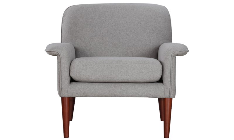 Tzu Key-Arm Accent Chair in Gray Upholstery with Tapered Wooden Legs - Front View