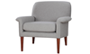Tzu Key-Arm Accent Chair in Gray Upholstery with Tapered Wooden Legs - Angled View