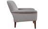 Tzu Key-Arm Accent Chair in Gray Upholstery with Tapered Wooden Legs - Side View