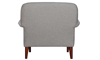 Tzu Key-Arm Accent Chair in Gray Upholstery with Tapered Wooden Legs - Back View