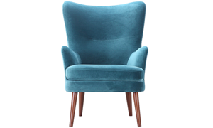 Dewey Teal Contemporary Wingback Accent Chair in Velvet-like Upholstery and Wooden Legs - Front Shot