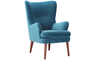 Dewey Teal Contemporary Wingback Accent Chair in Velvet-like Upholstery and Wooden Legs - Angle Shot