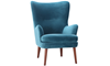 Dewey Teal Contemporary Wingback Accent Chair