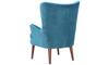 Dewey Teal Contemporary Wingback Accent Chair in Velvet-like Upholstery and Wooden Legs - Back Angle Shot
