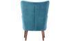 Dewey Teal Contemporary Wingback Accent Chair in Velvet-like Upholstery and Wooden Legs - Back Shot