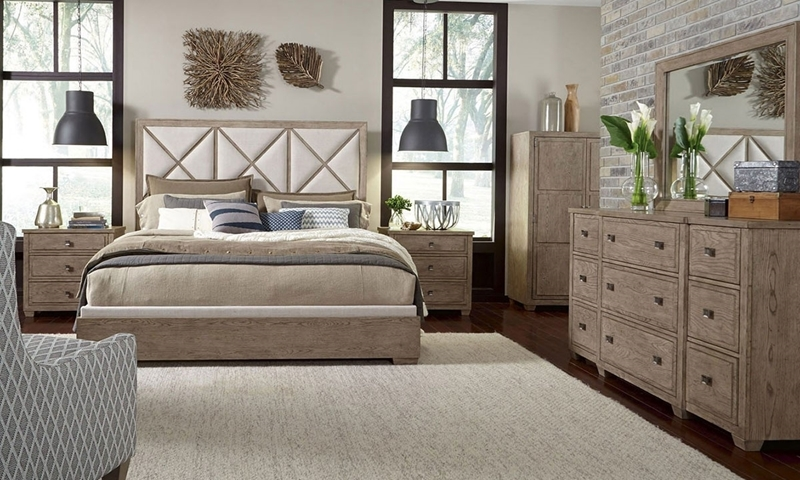 Bridgewater Weathered Oak Upholstered 3-piece Bedroom Set with Neutral Toned Upholstered Queen Bed, 9-Drawer Dresser and Matching Mirror