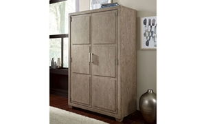 Bridgewater Weathered Oak Door Chest with Enclosed 5-Drawer and 4 Shelf Unit - Doors Closed