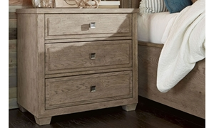 Bridgewater Weathered Oak 3-Drawer Nightstand with Hidden Charging Strip  - Closed