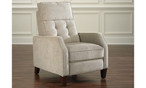 Button-Tufted Push Back Track Arm Recliner in Linen-Look Gray Fabric