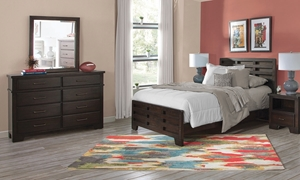 Billings Dark Walnut Bedroom Set with Twin Captains Bed, 6-drawer dresser and Beveled Mirror