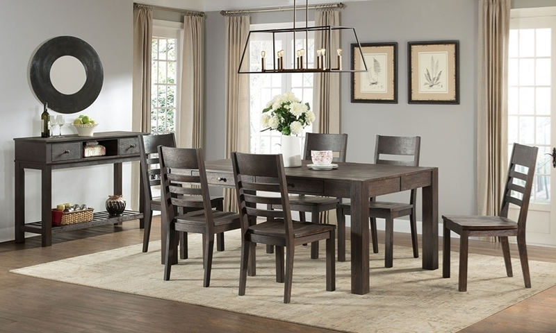Salem 5-Piece Solid Acacia wood dining Set featuring 4 slat back side chairs and a 60-inch storage table wire brushed in a dark natural cocoa brown finish.