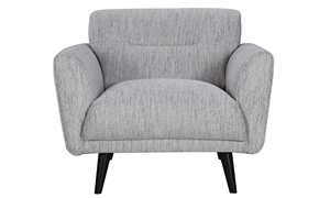 Locke Contemporary Flare Arm Accent Chair in Modern Gray Fabric - Front View