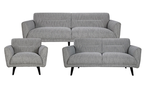 Locke 3-Piece Contemporary Flare Arm Living Room Set with Sofa, Loveseat and Chair in Modern Gray Fabric - Group View