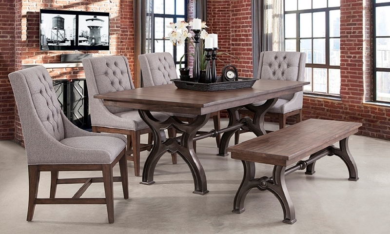 Davidson 6-Piece Traditional Metal Trestle Dining Set with 76-inch Brown Wood Table with Metal Trestle Base, 4 Host Chairs with Diamond Tufting in Neutral Fabric and Matching 60-inch Wood Bench