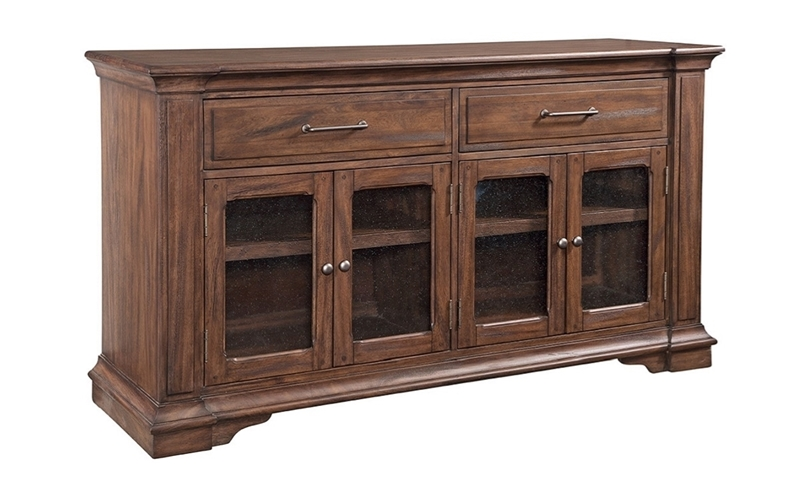 Davidson 68-Inch Traditional 68-Inch Buffet Storage with Glass Panel Cabinets and Adjustable Shelves in Brown Finish
